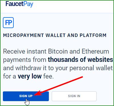 кнопка регистрации на FaucetPay