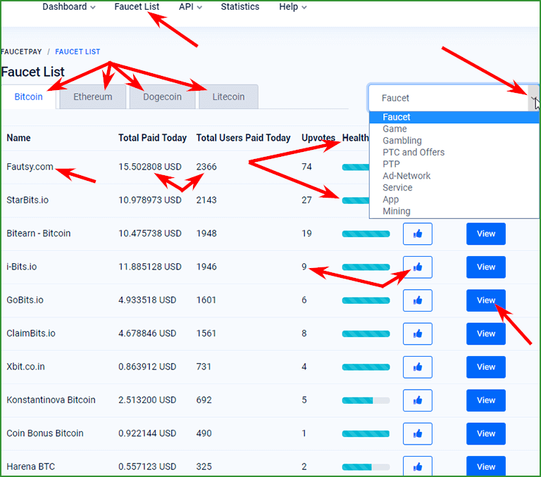 листинг криптовалютных кранов на FaucetPay