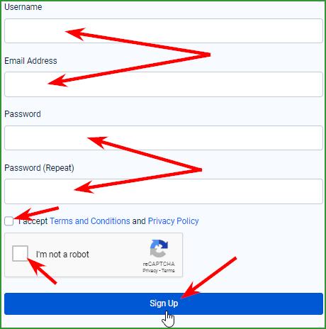заполнение регистрационной формы на FaucetPay