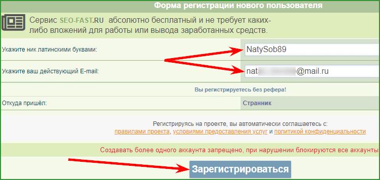 заполнение формы регистрации на SEO-FAST