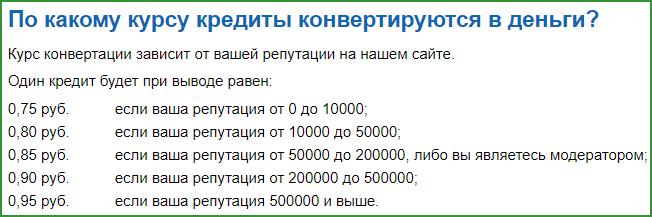 по какому курсу кредиты конвертируются в деньги на сервисе большой вопрос